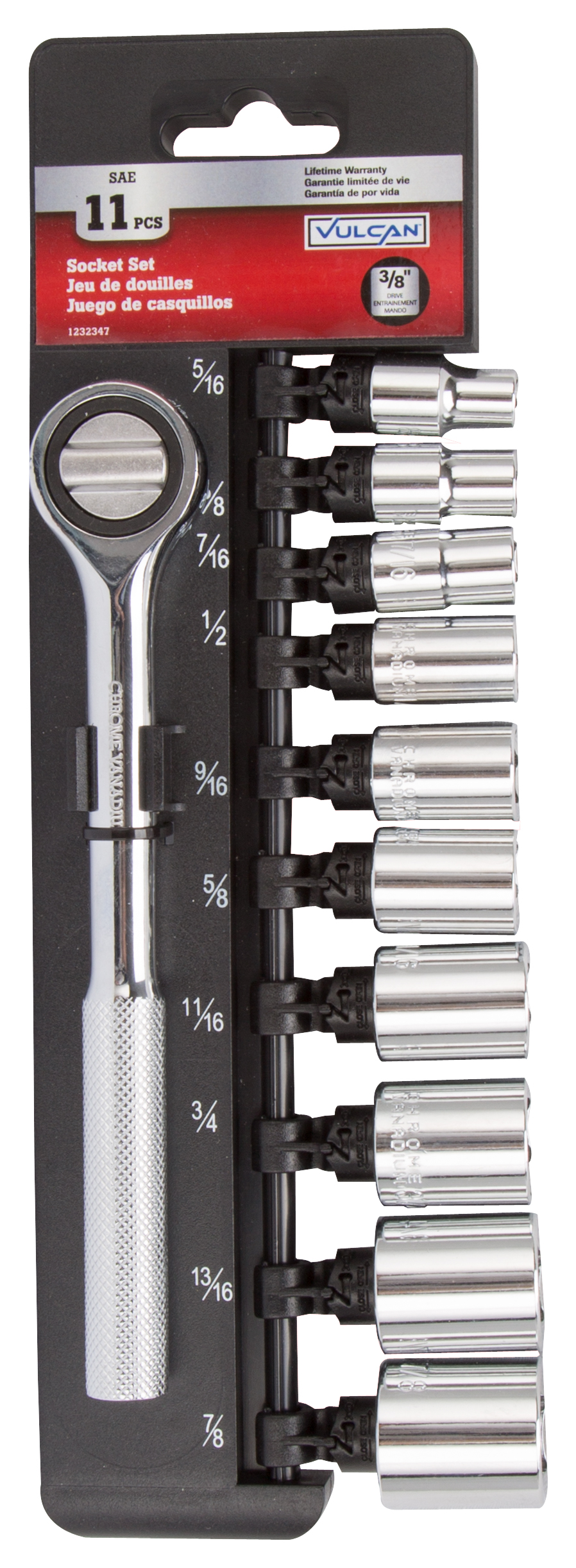 Picture of Vulcan 13PC-3S Socket Set, Chrome Vanadium Steel, Specifications: 3/8 in Drive Size