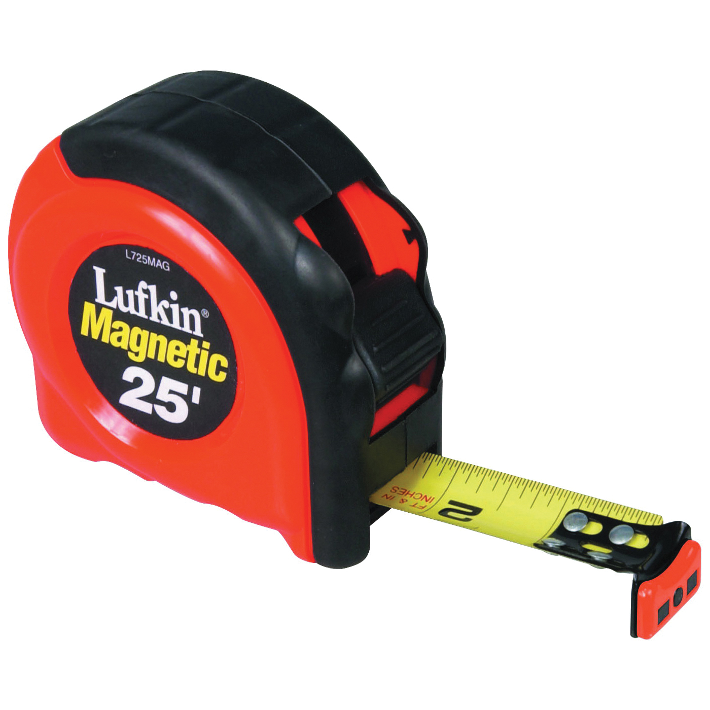 Picture of Crescent Lufkin L725MAG Tape Measure, 25 ft L Blade, 1 in W Blade, Steel Blade, ABS/Rubber Case, Orange Case