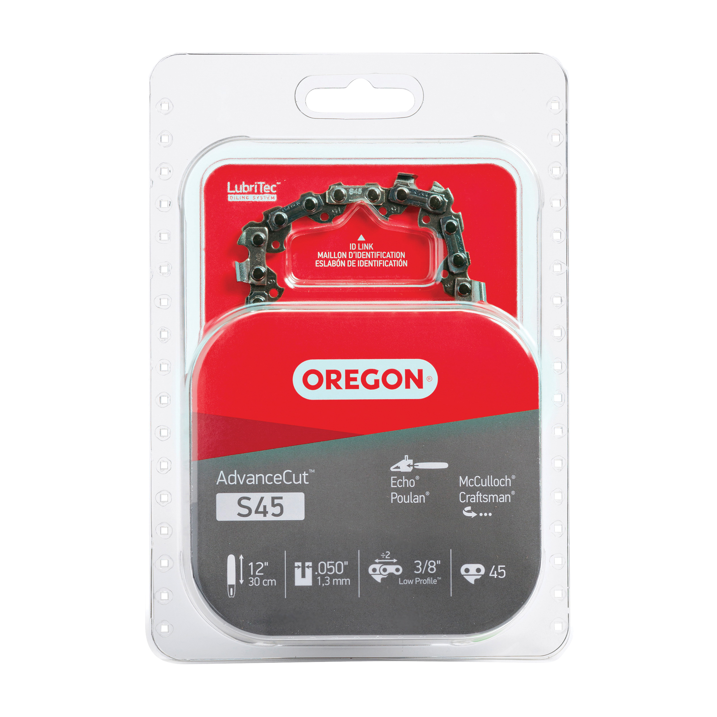 Picture of Oregon S45 Chainsaw Chain, 12 in L Bar, 0.05 Gauge, 3/8 in TPI/Pitch, 45 -Link