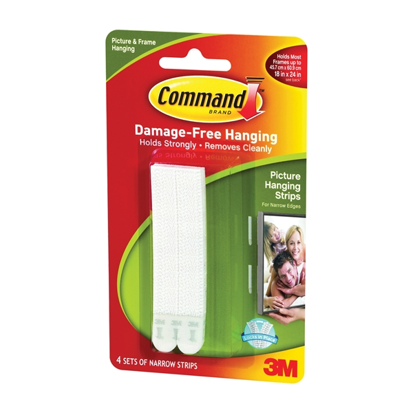Picture of Command 17207 Picture Hanging Strip, 3 lb/set, Foam, White, 8, Pack