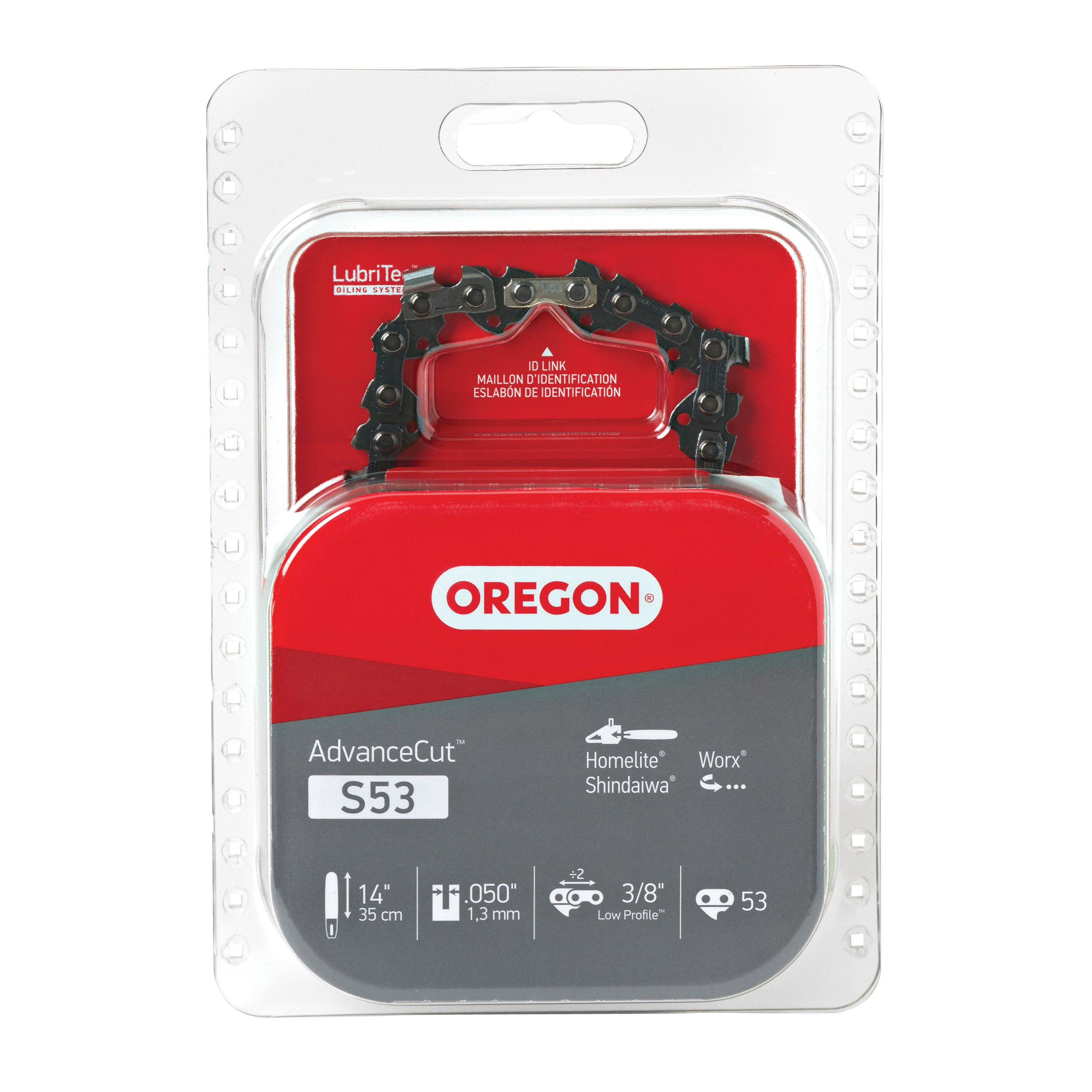 Picture of Oregon S53 Chainsaw Chain, 14 in L Bar, 0.05 Gauge, 3/8 in TPI/Pitch, 53 -Link