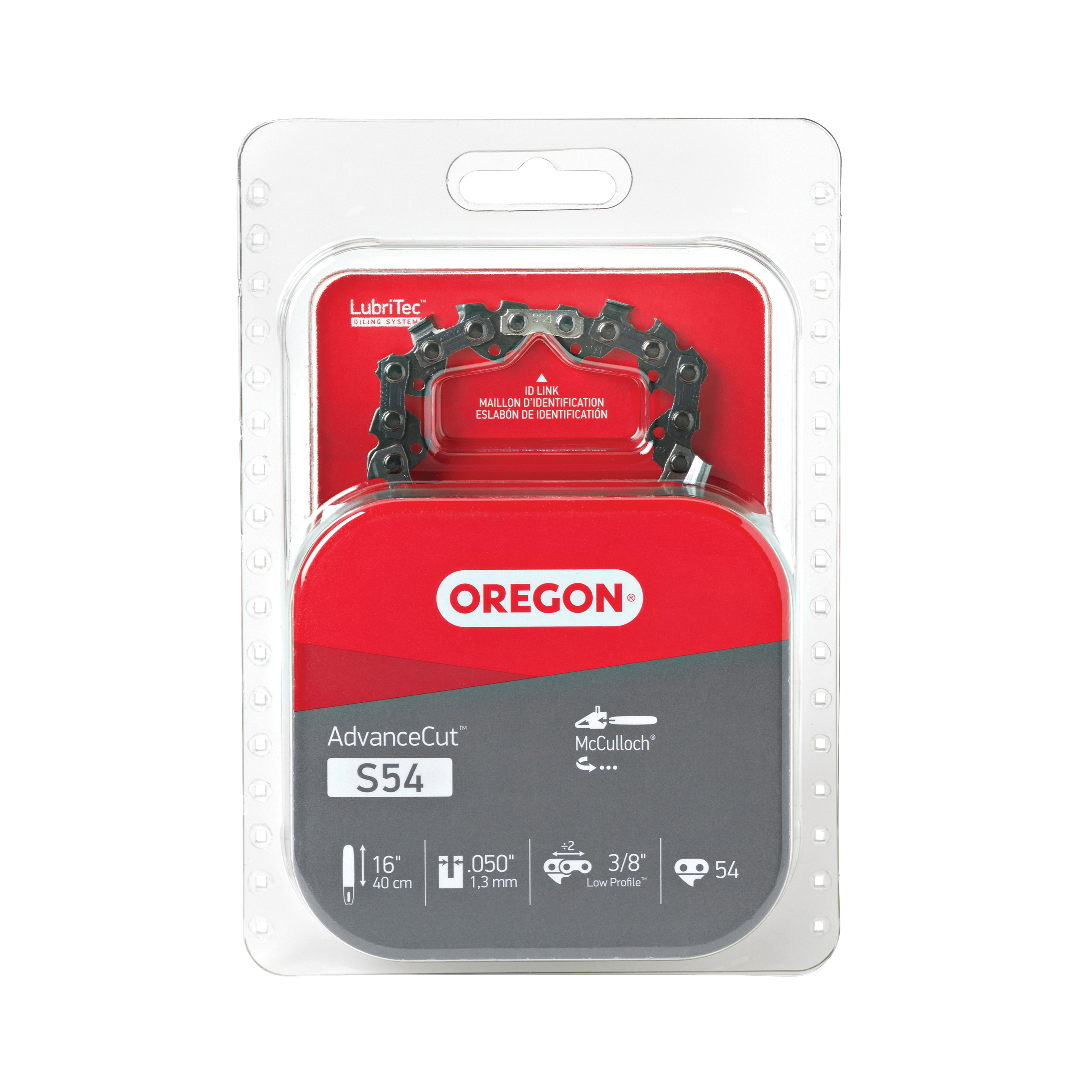Picture of Oregon S54 Chainsaw Chain, 16 in L Bar, 0.05 Gauge, 3/8 in TPI/Pitch, 54 -Link