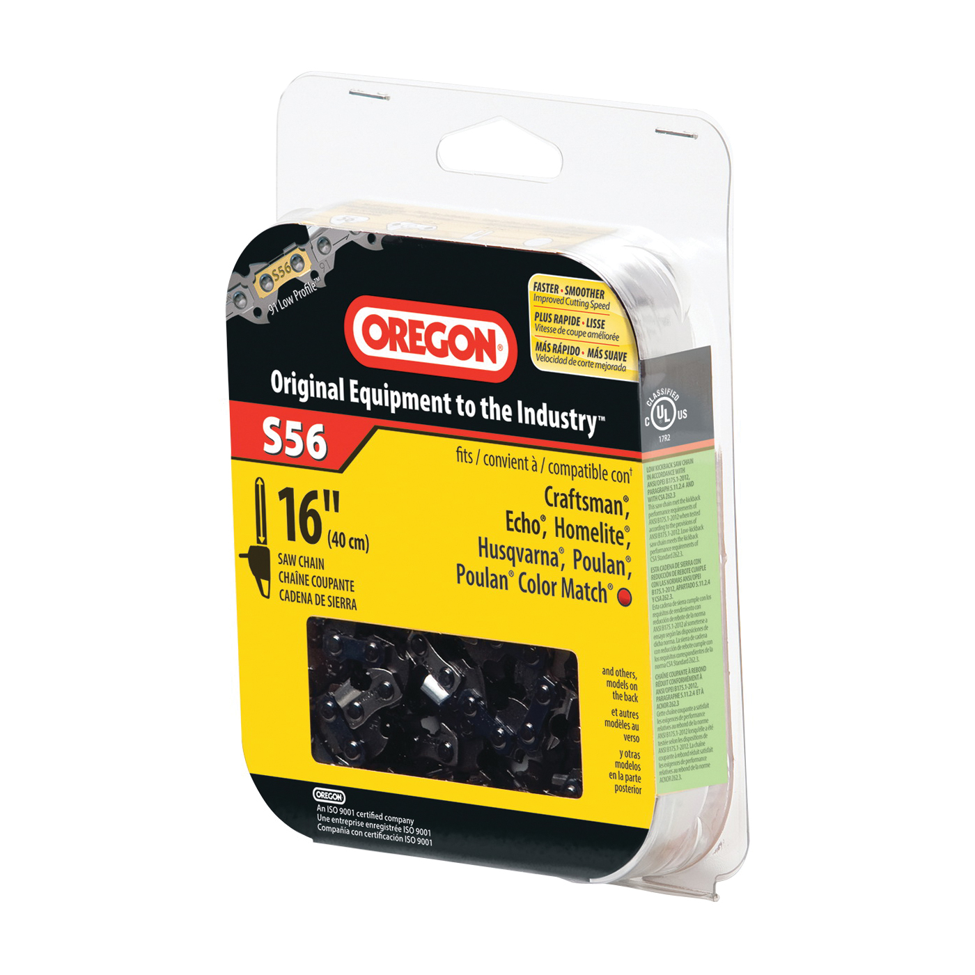 Picture of Oregon S56 Chainsaw Chain, 16 in L Bar, 0.05 Gauge, 3/8 in TPI/Pitch, 56 -Link