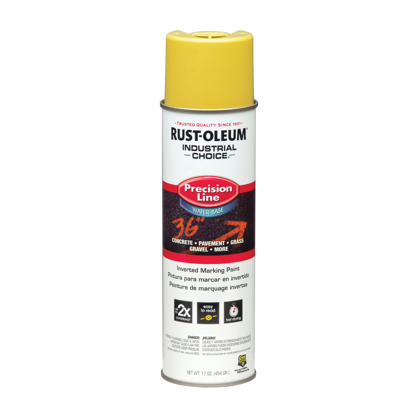 Picture of RUST-OLEUM INDUSTRIAL CHOICE 203034 Marking Paint, Yellow, 17 oz, Aerosol Can
