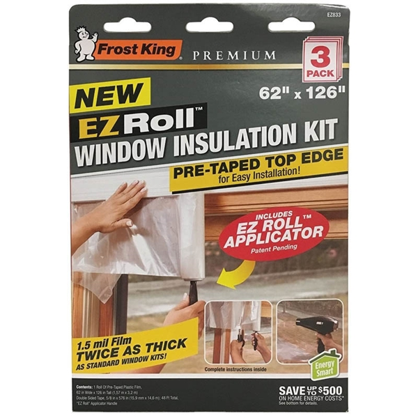 Picture of Frost King EZ833 Window Insulation Kit, 42 in W, 1.5 mm Thick, 62 in L, Plastic, Clear