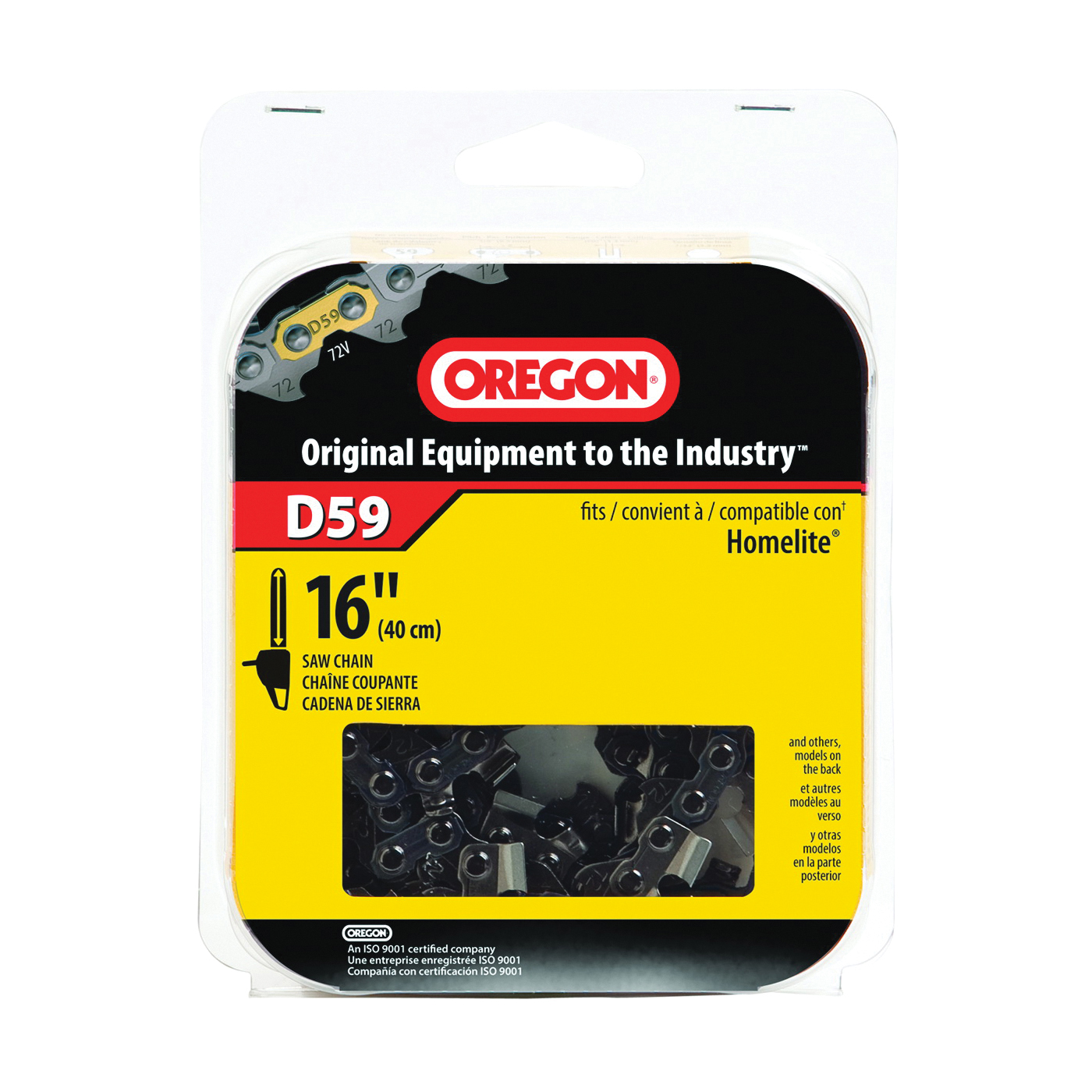 Picture of Oregon D59 Chainsaw Chain, 16 in L Bar, 0.05 Gauge, 3/8 in TPI/Pitch, 59 -Link
