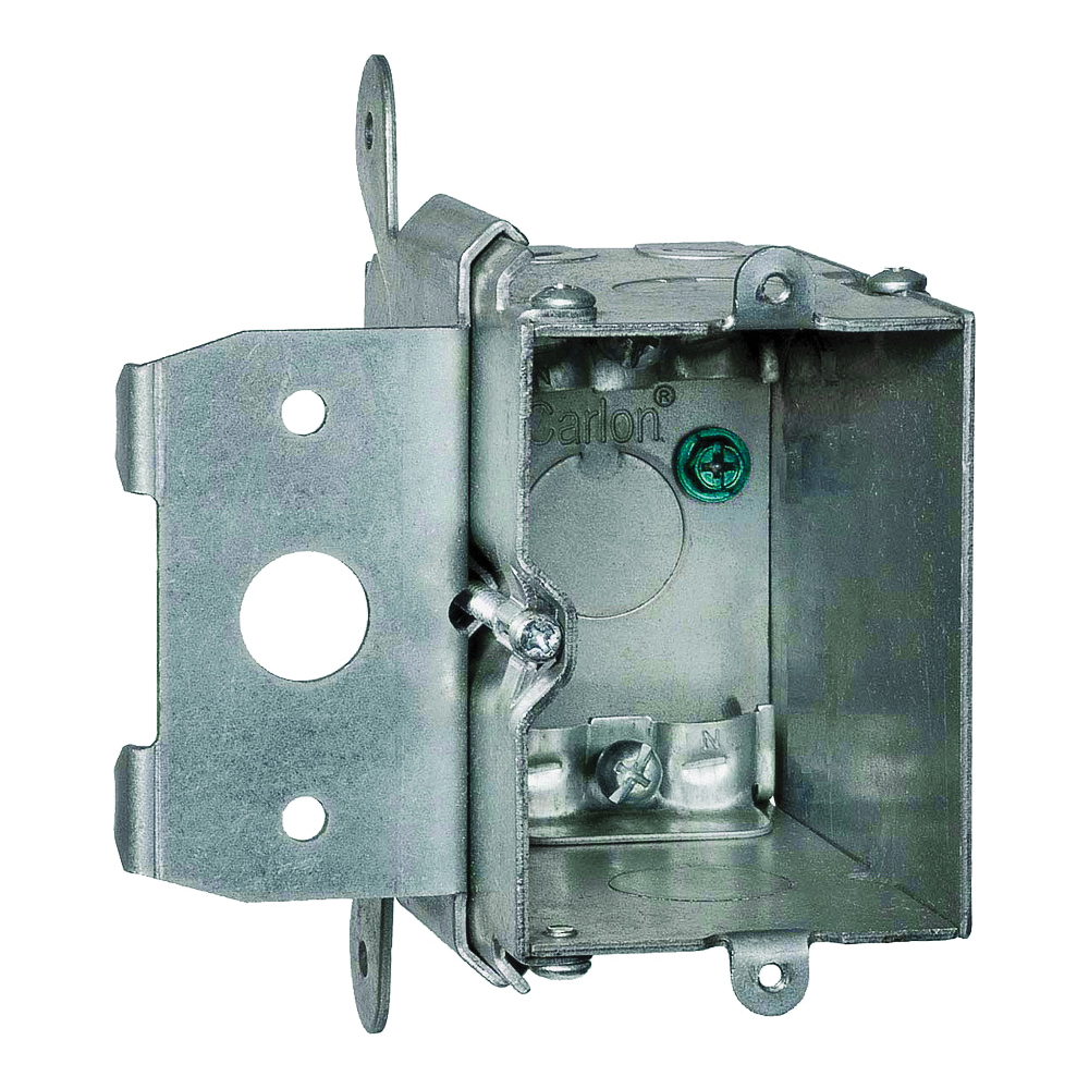 Picture of Steel City MB120ADJ Outlet Box, 1-Gang, 5-Knockout, Galvanized Steel, Silver, Box Mounting