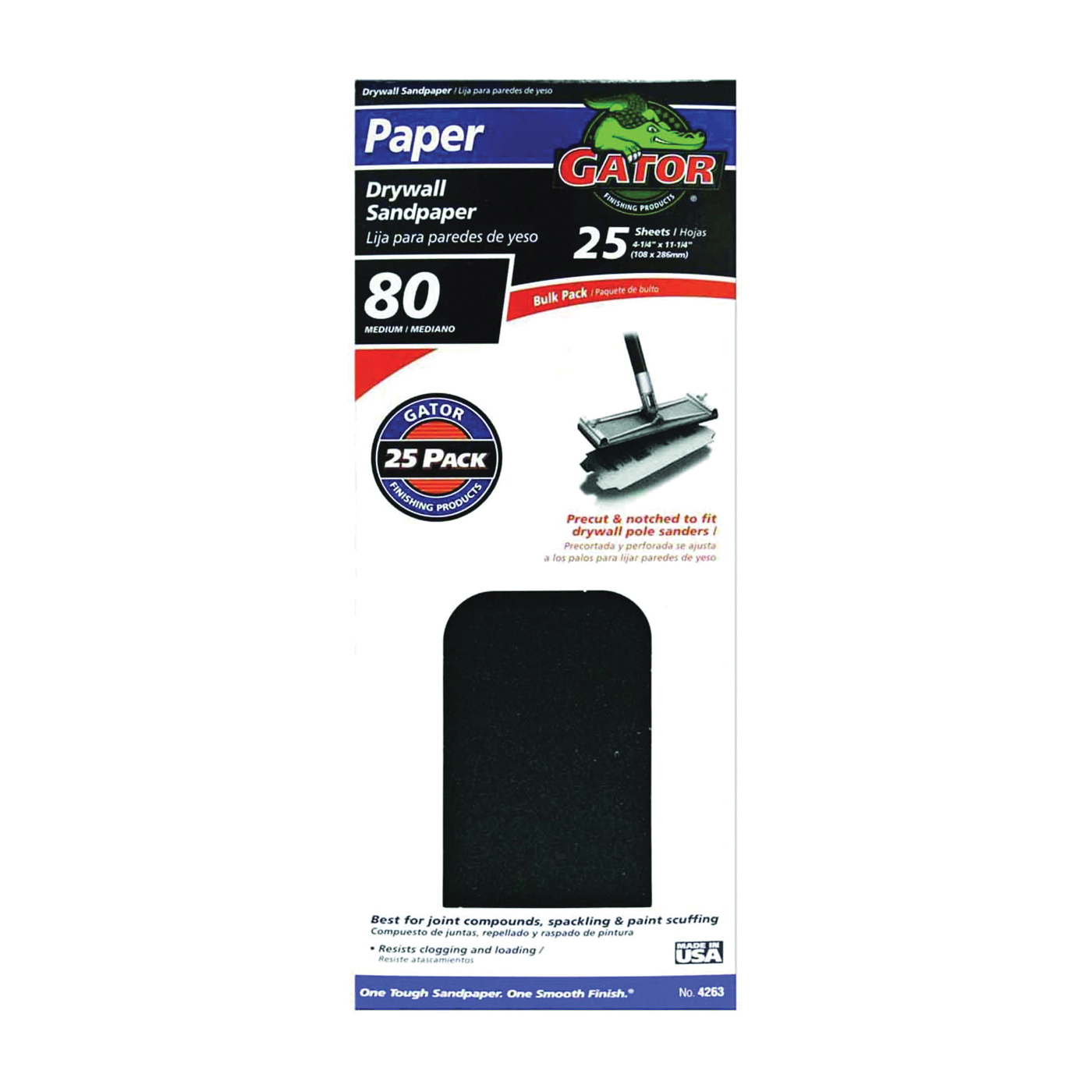 Picture of Gator 3310 Sanding Sheet, 11 in L, 4-3/8 in W, 80 Grit, Coarse, Silicone Carbide Abrasive