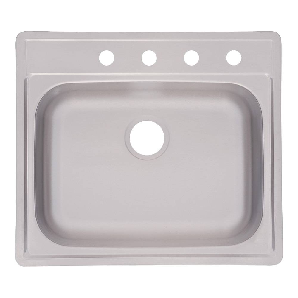 Picture of KINDRED FSS804NB Kitchen Sink, 4-Faucet Hole, 25 in OAW, 22 in OAD, 8 in OAH, Stainless Steel, Top Mounting