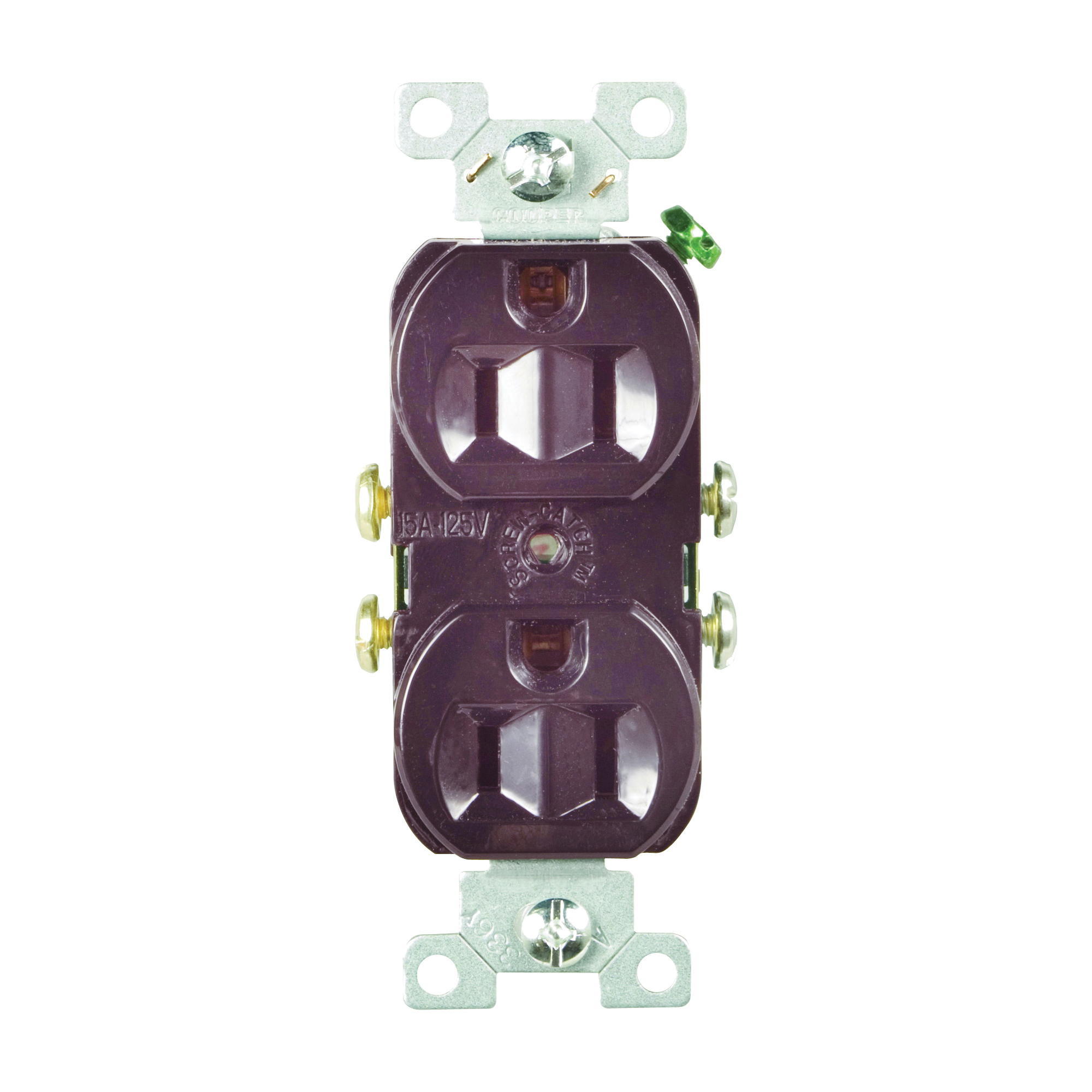 Picture of Eaton Wiring Devices CR15B Duplex Receptacle, 2-Pole, 15 A, 125 V, Side Wiring, NEMA: 5-15R, Brown