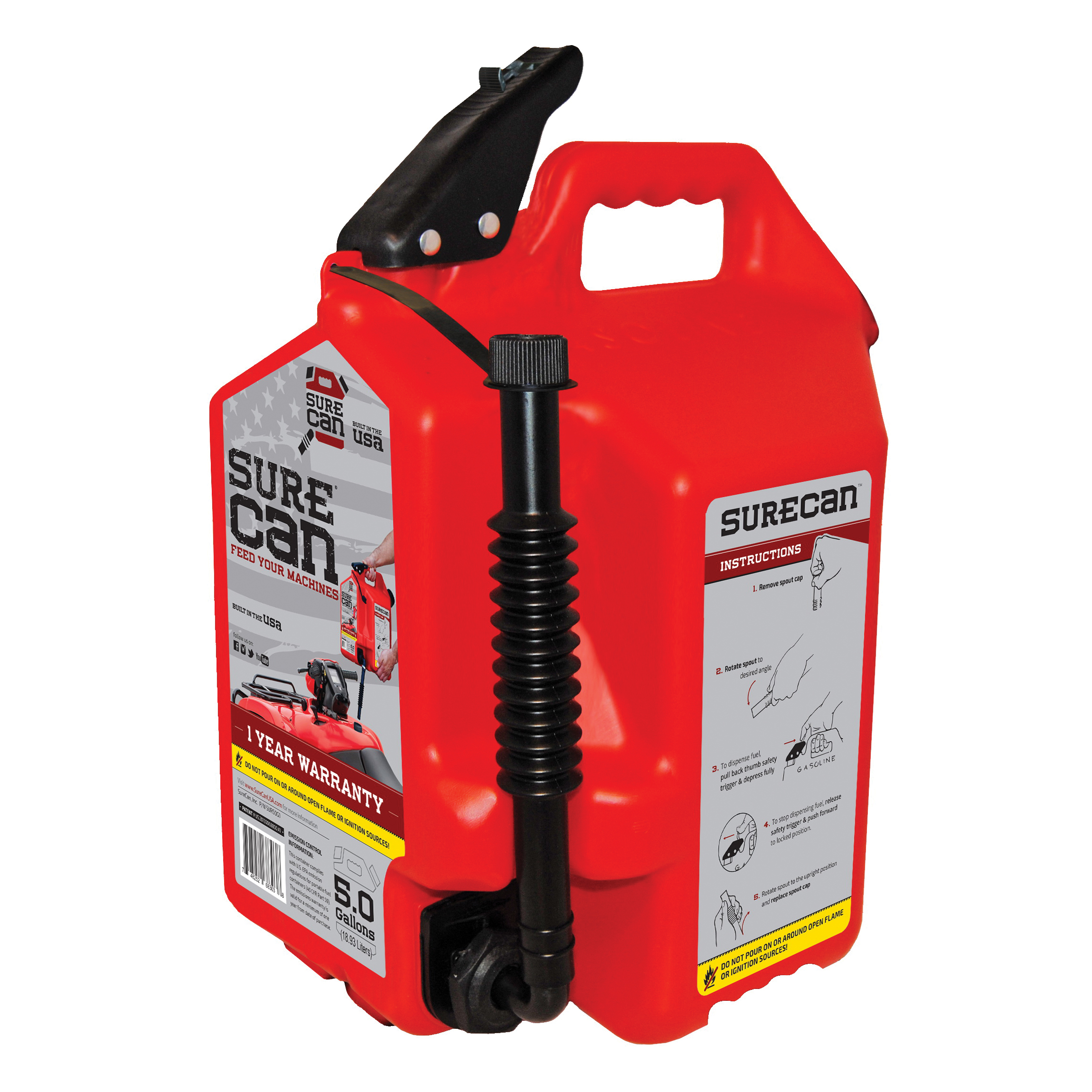 Picture of SUREcan SUR50G1 Gas Can, 5 gal Capacity, Plastic, Red