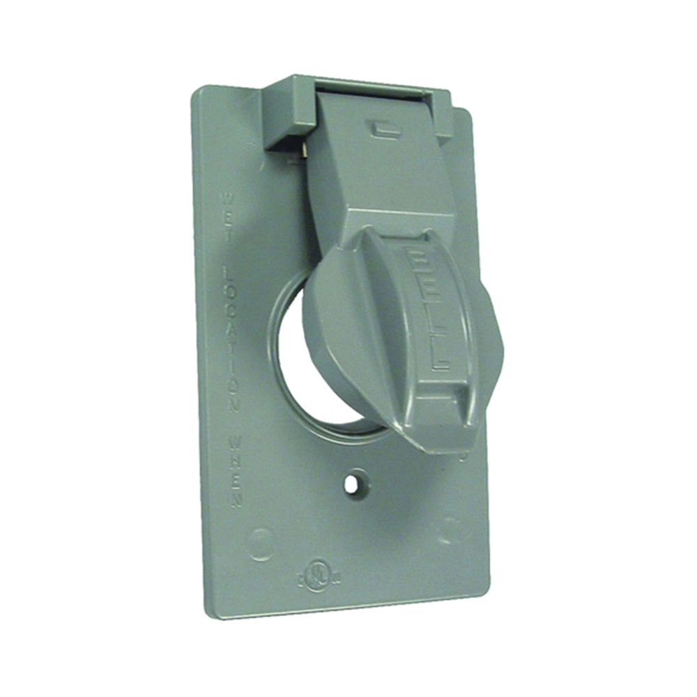 Picture of HUBBELL 5155-5 Cover, 1-13/32 in Dia, 4-9/16 in L, 2-13/16 in W, Metal, Gray, Powder-Coated