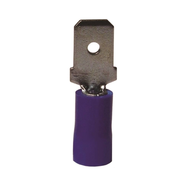 Picture of GB 20-143M Disconnect Terminal, 600 V, 16 to 14 AWG Wire, 1/4 in Stud, Vinyl Insulation, Blue, 18/Clam