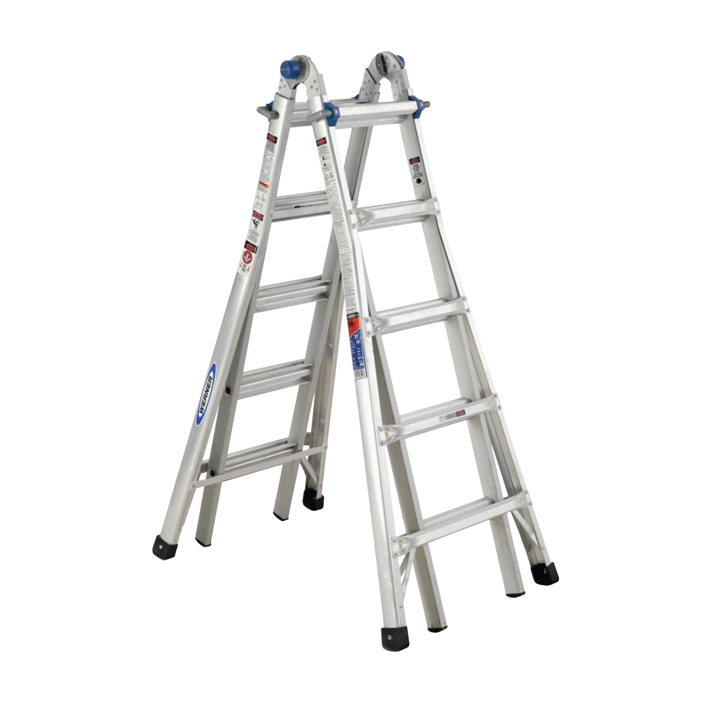 Picture of WERNER MT-22 Telescoping Multi-Ladder, 22 ft Max Reach H, 20-Step, 300 lb, Type IA Duty Rating, 1-1/4 in D Step