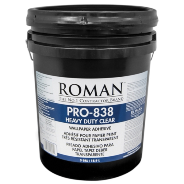Picture of ROMAN PRO-838 11305 Wallcovering Adhesive, Clear, 5 gal Package, Pail
