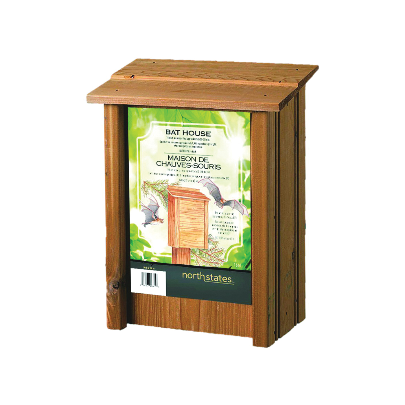 Picture of North States 1641 Bat House, 9 in W, 5-1/4 in D, 12 in H, Cedar Wood, Post, Fence Mounting