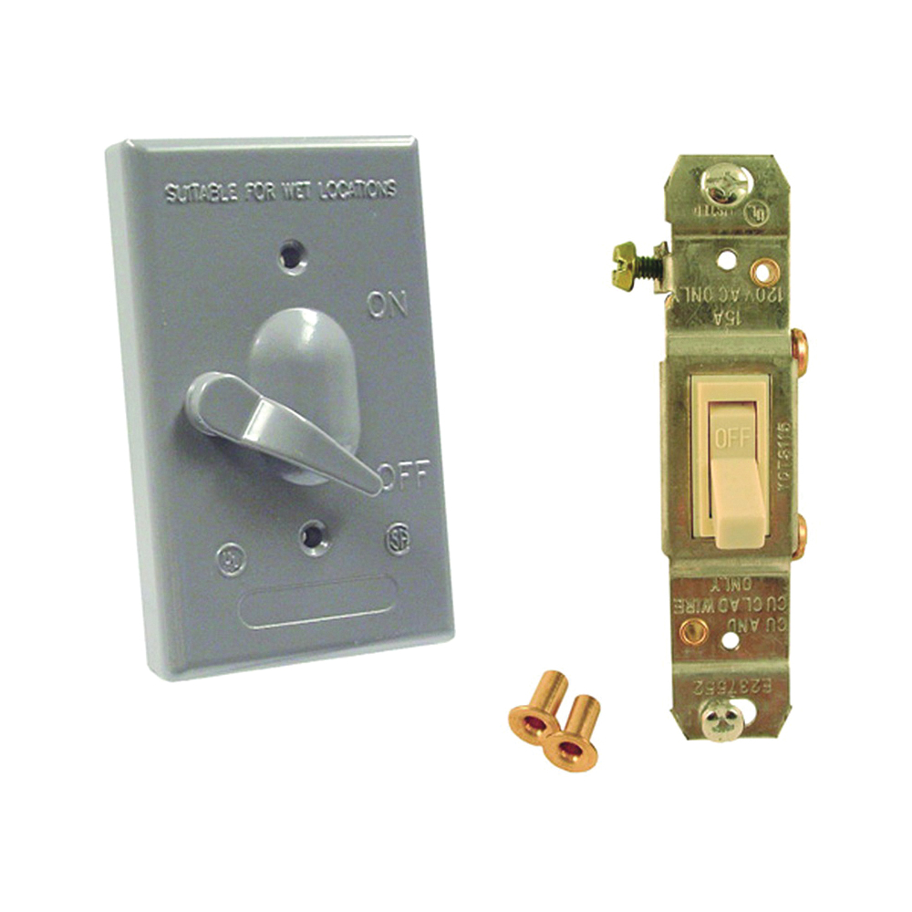 Picture of HUBBELL 5121-5 Toggle Cover, 4-39/64 in L, 2-53/64 in W, Metal, Gray, Powder-Coated