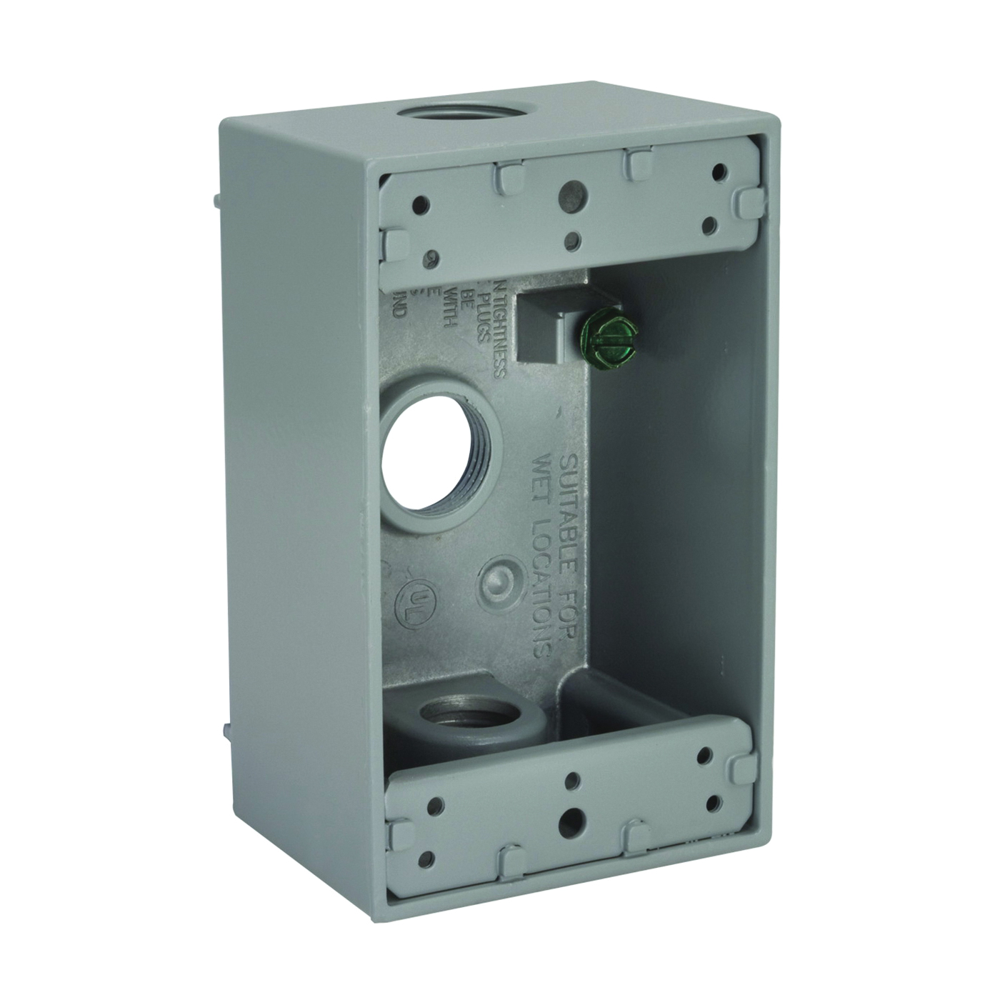 Picture of HUBBELL 5320-5 Box, 3-Outlet, 1-Gang, Aluminum, Gray, Powder-Coated