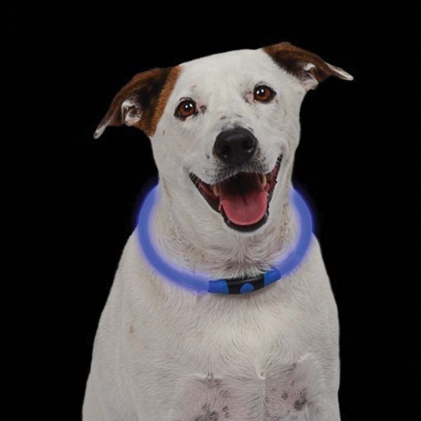Picture of Nite Ize NITEHOWL NHO-03-R3 Safety Necklace, Big, Small Breed, 12 to 27 in L Collar, Polymer, Blue