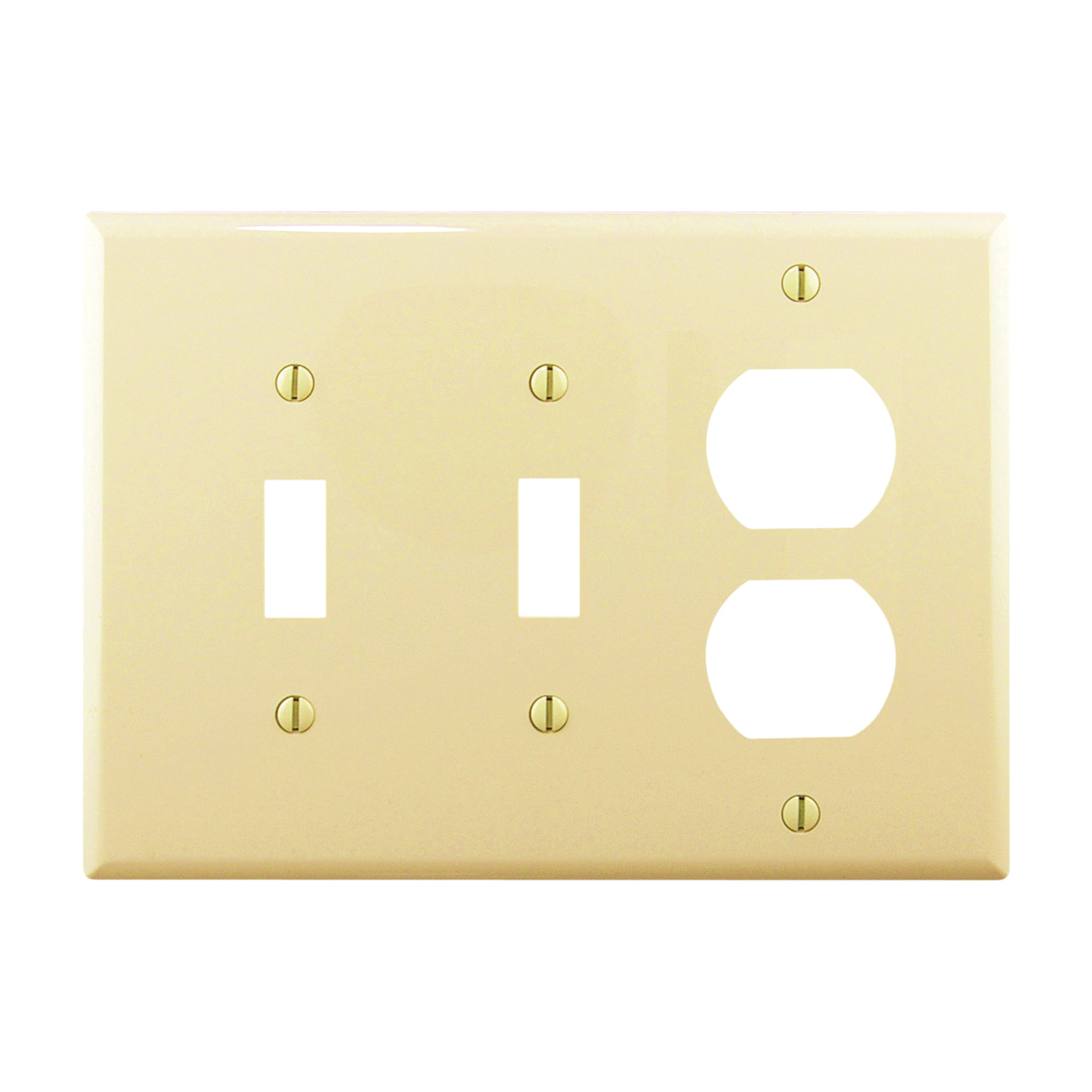 Picture of Eaton Wiring Devices PJ28V Wallplate, 4-7/8 in L, 6-3/4 in W, 3-Gang, Polycarbonate, Ivory, High-Gloss