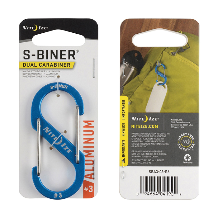 Picture of Nite Ize SBA3-03-R6 Key Carabiner, 1.2 in OAL, Aluminum, Blue