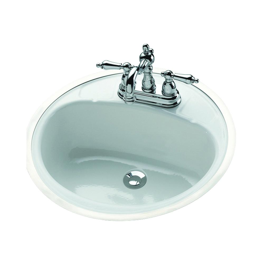 Picture of BOOTZ Daisy 021-2430-00 Lavatory Sink, Round Basin, 2-Deck Hole, 18 in OAW, 18 in OAH, 7-13/16 in OAD, Steel