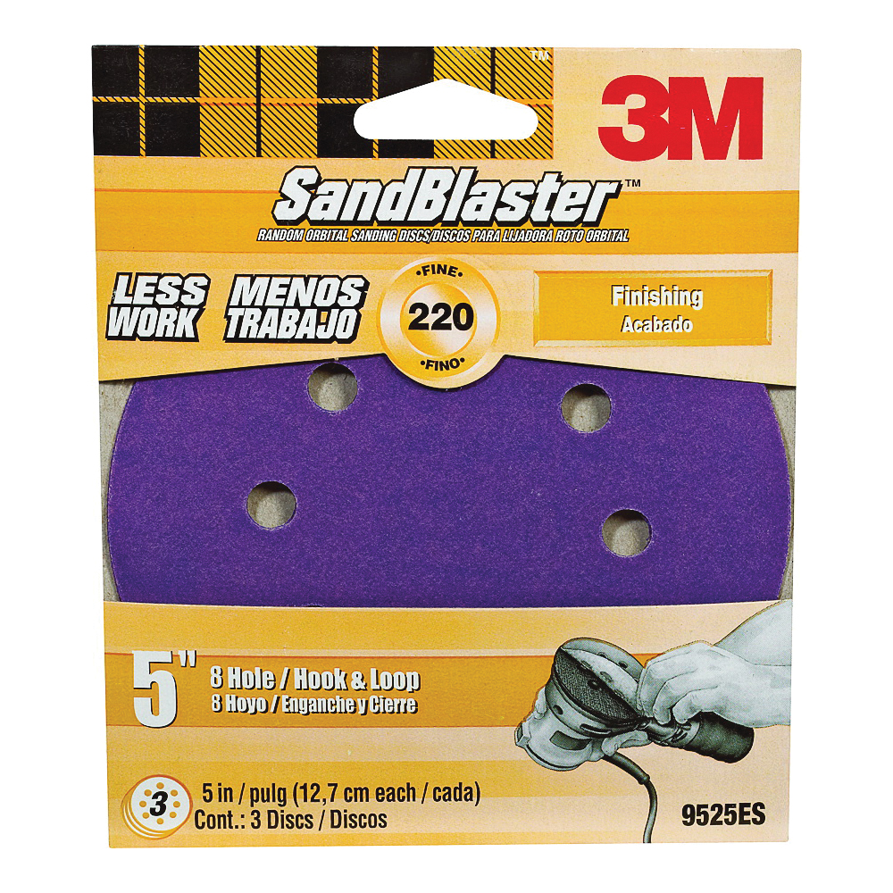 Picture of 3M SandBlaster 9525ES Sanding Disc, 5 in Dia, Coated, 220 Grit, Cubitron Mineral Abrasive, Fiber Backing