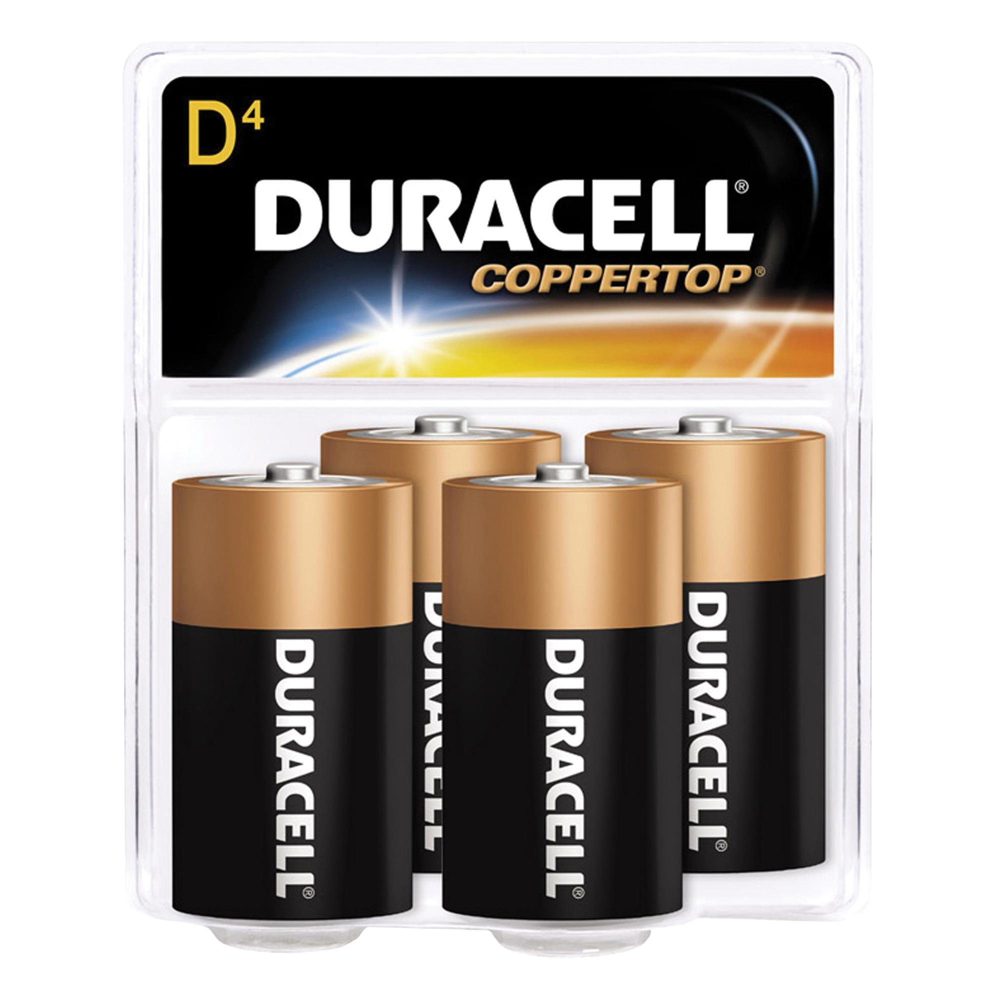 Picture of DURACELL MN1300R4Z Alkaline Battery, 1.5 V Battery, 14 Ah, D Battery, Manganese Dioxide, Black