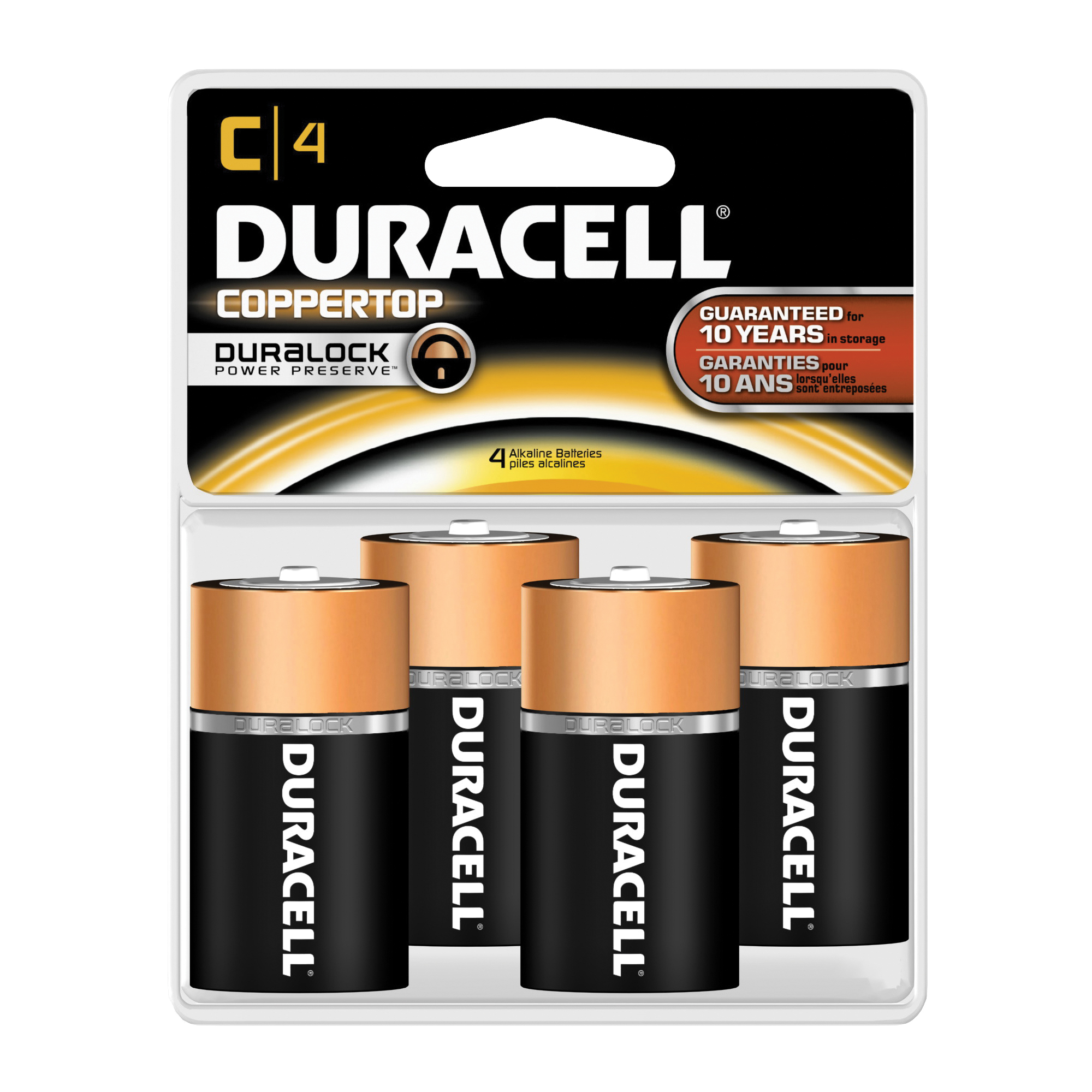Picture of DURACELL MN1400R4ZX Alkaline Battery, 1.5 V Battery, 7 Ah, C Battery, Manganese Dioxide, 4/PK