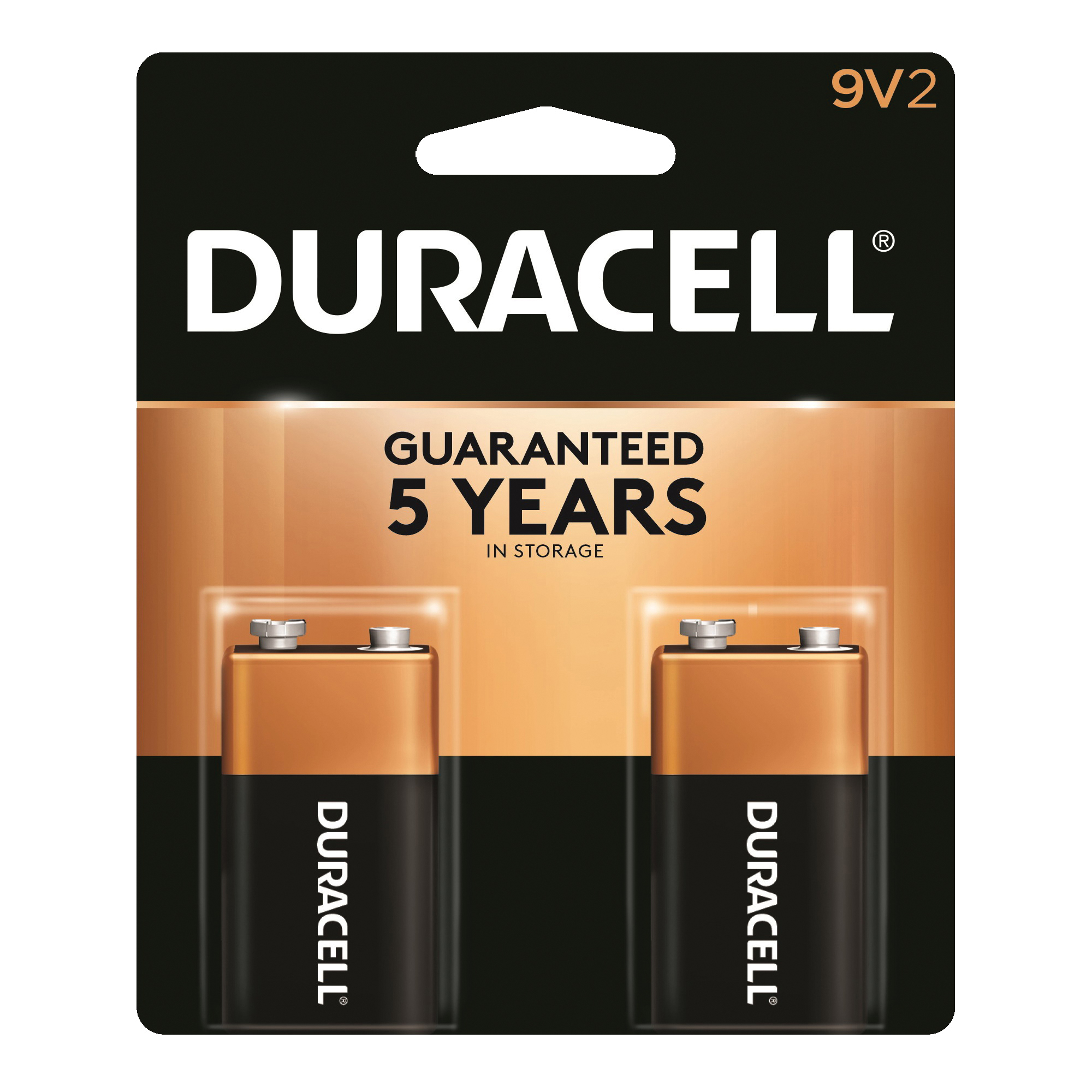Picture of DURACELL MN1604B2Z Alkaline Battery, 9 V Battery, 9 V Battery, Manganese Dioxide, 2/PK