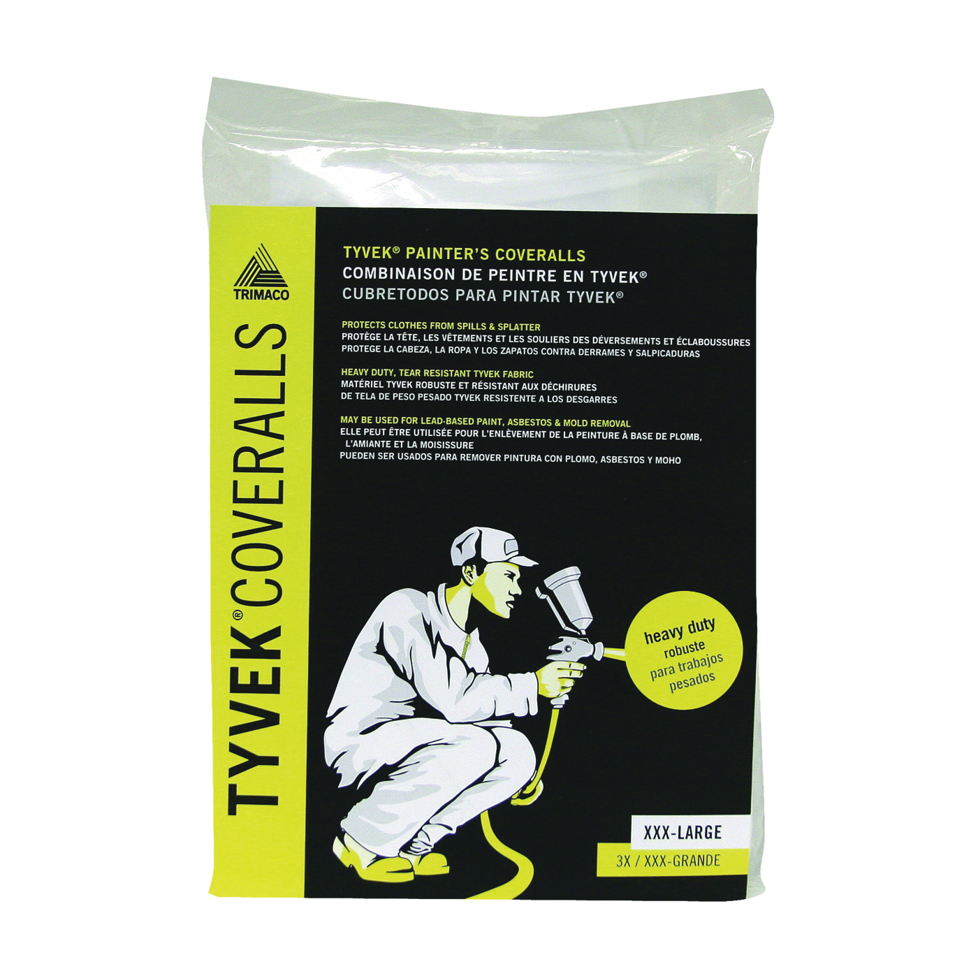 Picture of Trimaco 14125 Professional Painter's Coverall, 3XL, Zipper Closure, Tyvek, White