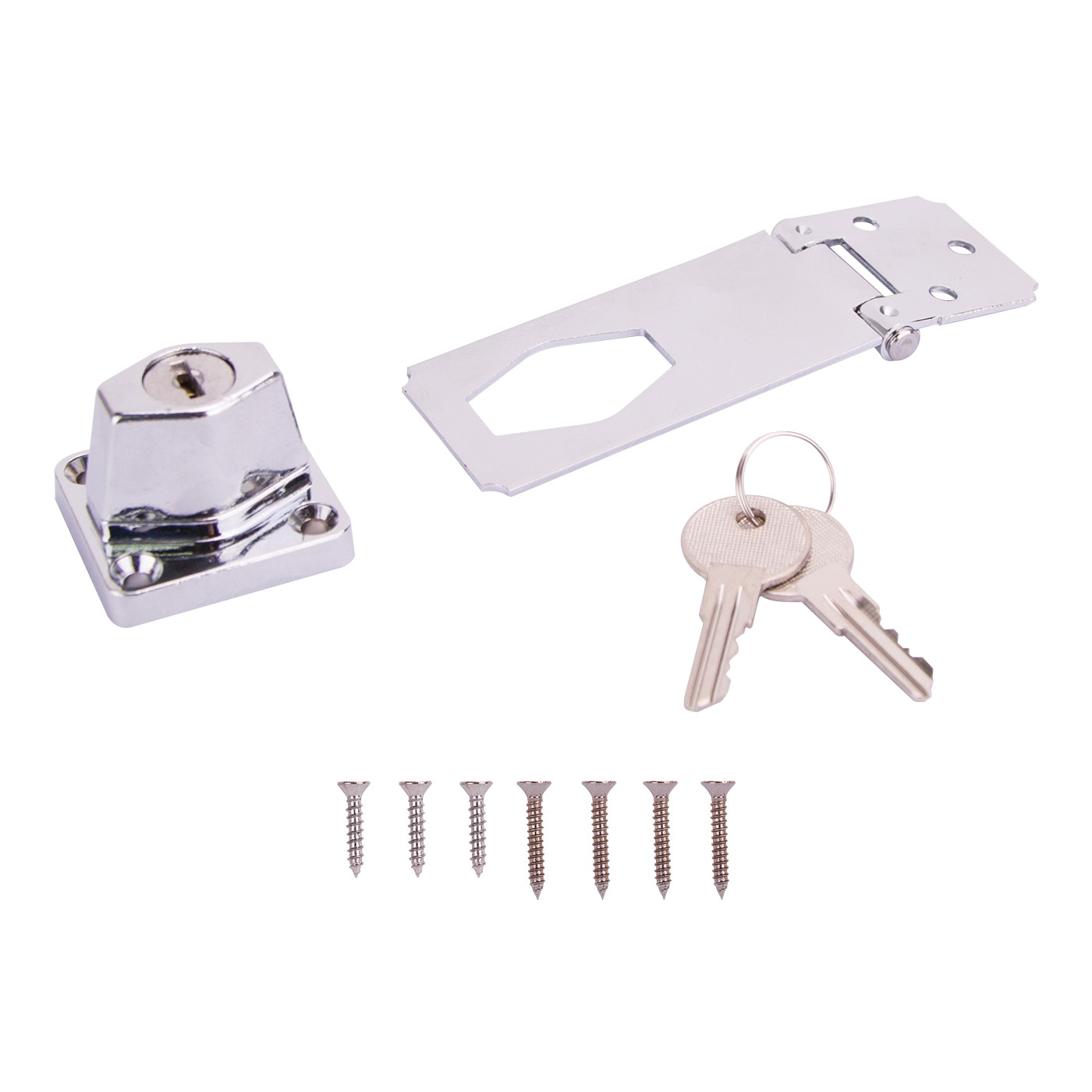 Picture of ProSource 807355-BC3L-PS Safety Hasp, 3-1/2 in L, Steel, Chrome