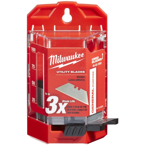 Picture of Milwaukee 48-22-1950 Utility Blade, 2-3/8 in L, Carbide Steel, 2 -Point, 60/PK, Pack