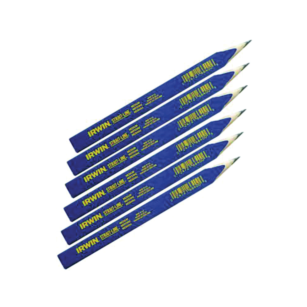 Picture of IRWIN 66302 Carpenter Pencil, Blue, 7 in L, Wood Barrel