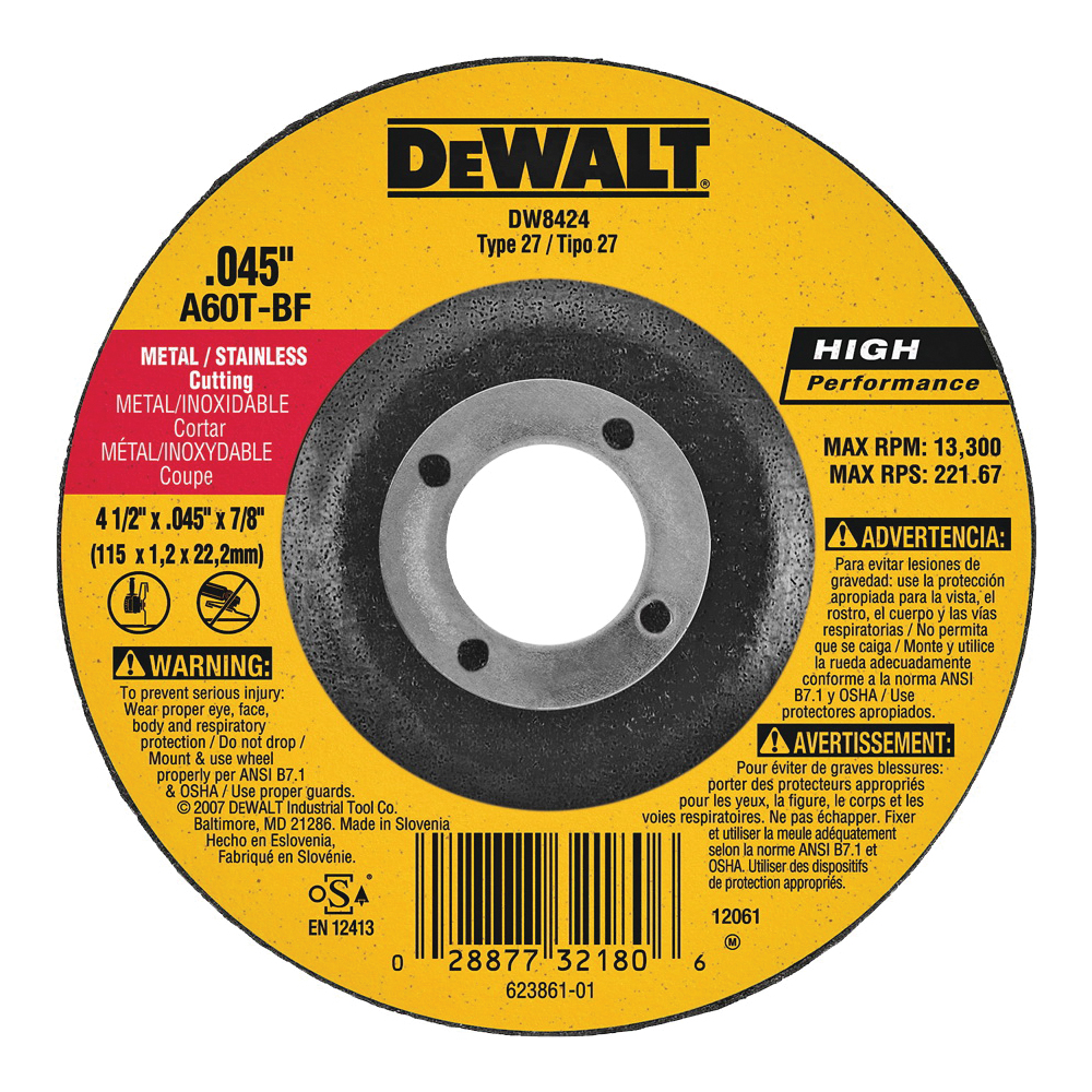 Picture of DeWALT DW8424 Cutting Wheel, 4-1/2 in Dia, 0.045 in Thick, 7/8 in Arbor, 60 Grit, Aluminum Oxide Abrasive