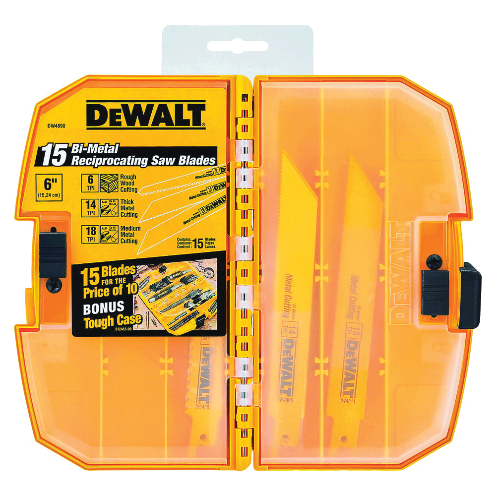 Picture of DeWALT DW4890 Reciprocating Saw Blade Set, 15 -Piece, Bi-Metal, Yellow
