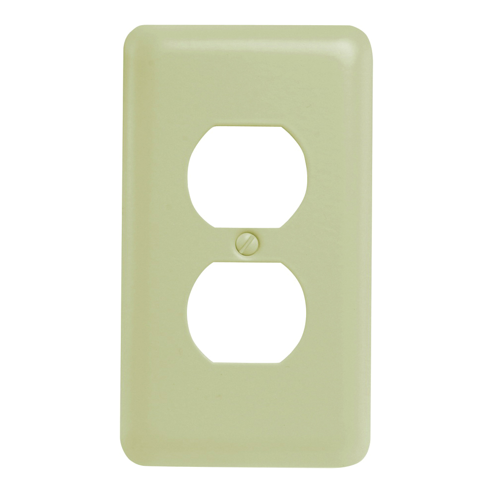 Picture of Amerelle 935DAL Duplex Receptacle Wallplate, 5 in L, 2-13/16 in W, 1-Gang, Steel, Light Almond
