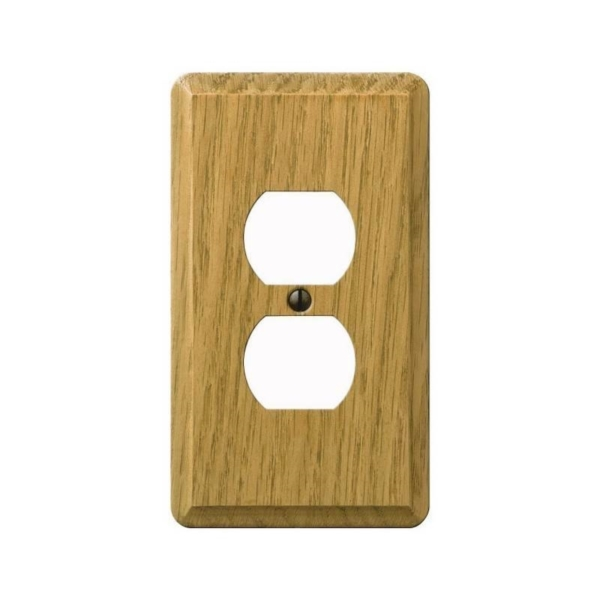 Picture of AmerTac Contemporary 901DL Outlet Wallplate, 5-1/4 in L, 3 in W, 1-Gang, Wood, Light Oak, Screw Mounting
