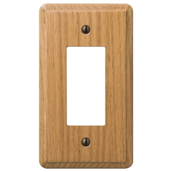 Picture of AmerTac Contemporary 901RL Rocker Wallplate, 5-1/4 in L, 3 in W, 1-Gang, Oak Wood, Light Oak