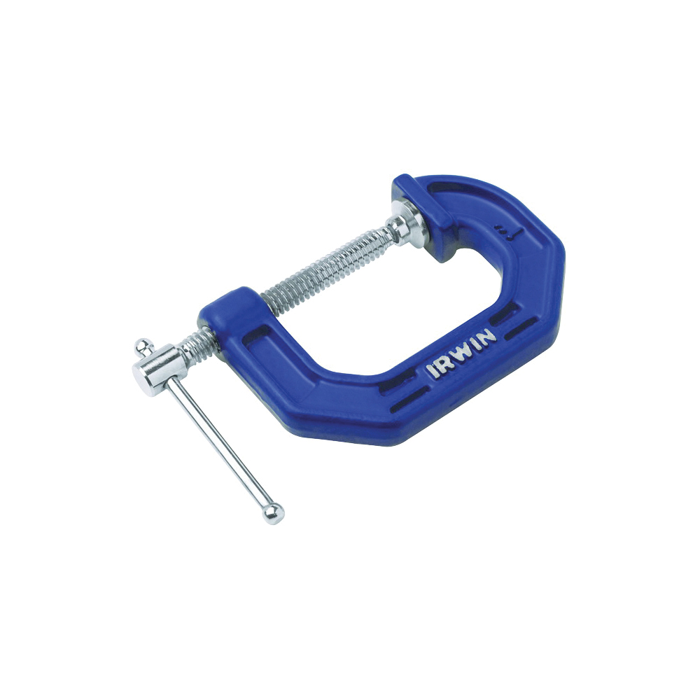 Picture of IRWIN 225103ZR C-Clamp, 3 in Max Opening Size, 2-1/4 in D Throat, Cast Iron Body, Blue Body