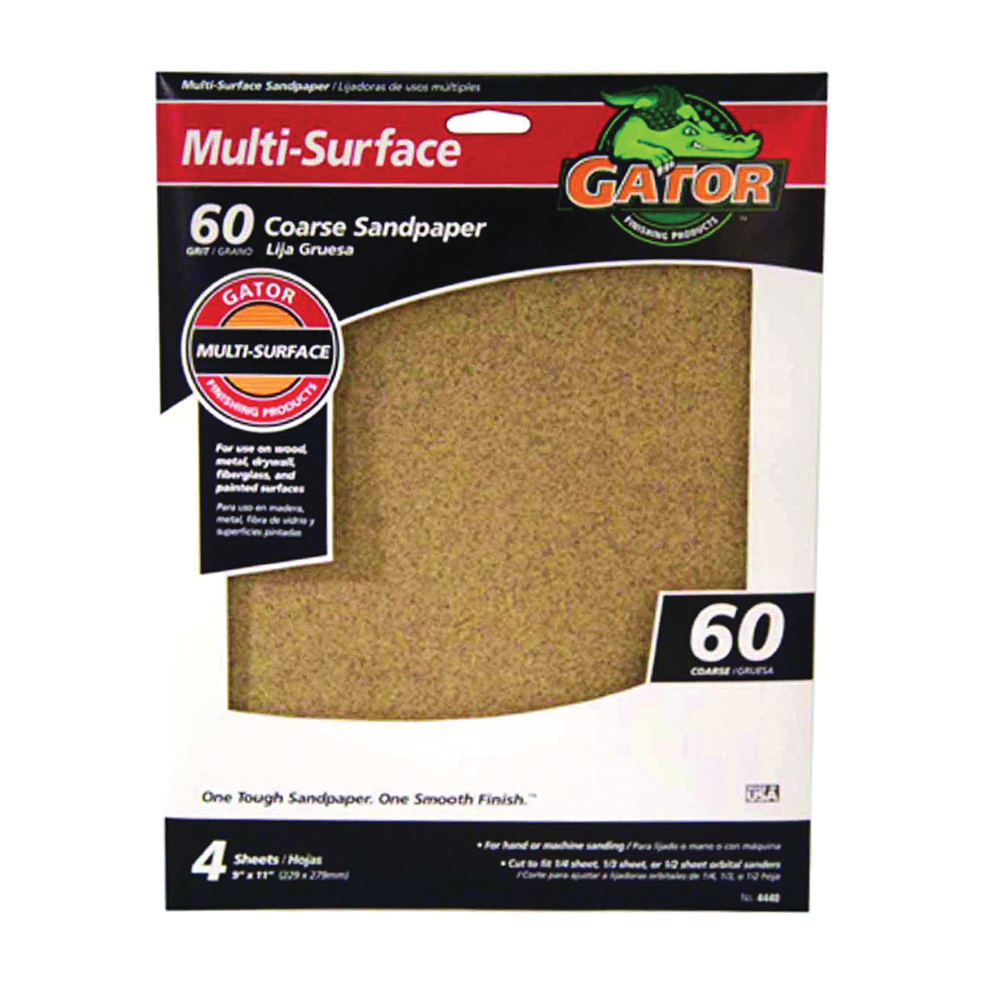 Picture of Gator 4440 Sanding Sheet, 11 in L, 9 in W, 60 Grit, Coarse, Aluminum Oxide Abrasive
