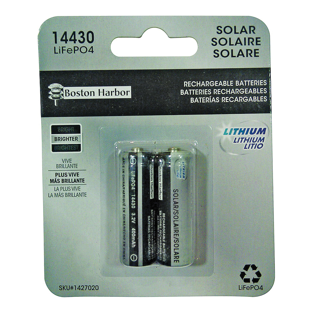Picture of Boston Harbor BTLP14430400-D2 Solar Battery, Rechargeable, Lithium Iron Phosphate, For: Solar Light