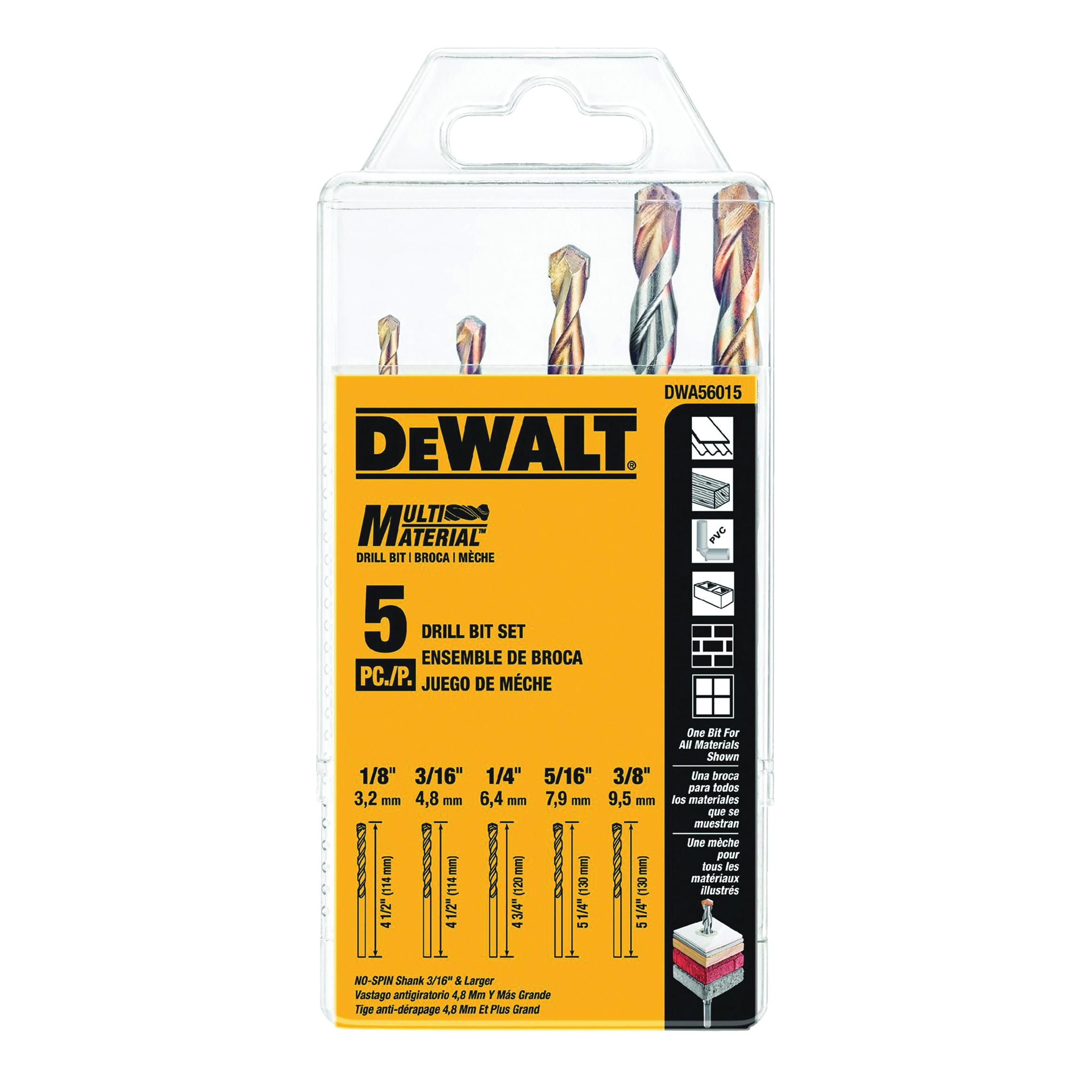 Picture of DeWALT DWA56015 Drill Bit Set, Multi-Material, 5 -Piece, Carbide