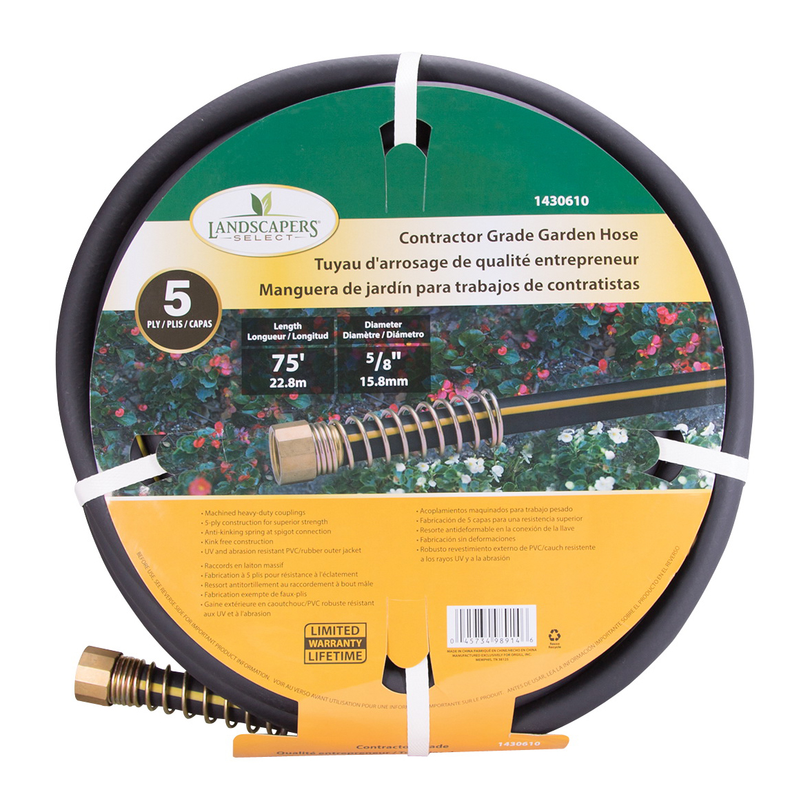 Picture of Landscapers Select GH-585093L Garden Hose, 75 ft L, Female x Male, PVC/Rubber, Black/Yellow