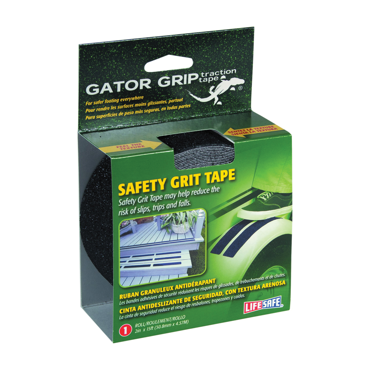 Picture of INCOM Gator Grip RE3951 Safety Grit Tape, 15 in L, 2 in W, PVC Backing, Black