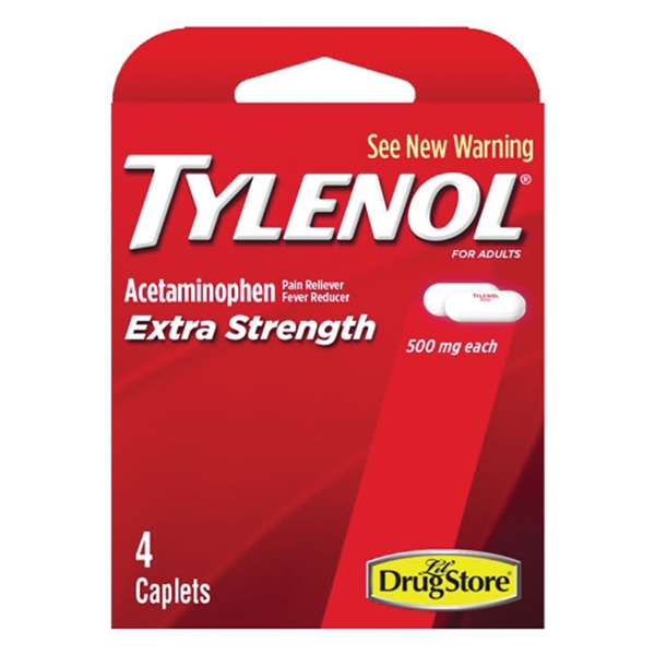 Picture of Tylenol 97472 Extra-Strength Pain Reliever/Fever Reducer, 4 CT, Caplet