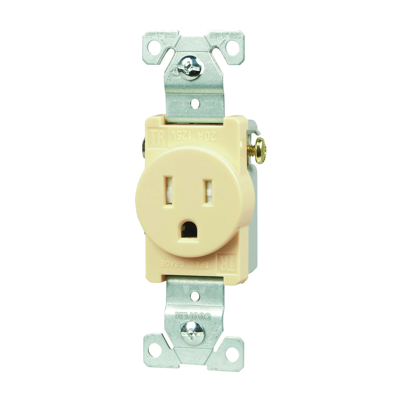 Picture of Eaton Wiring Devices TR817V-BOX Single Receptacle, 2-Pole, 125 V, 15 A, Side Wiring, NEMA 5-15R, Ivory