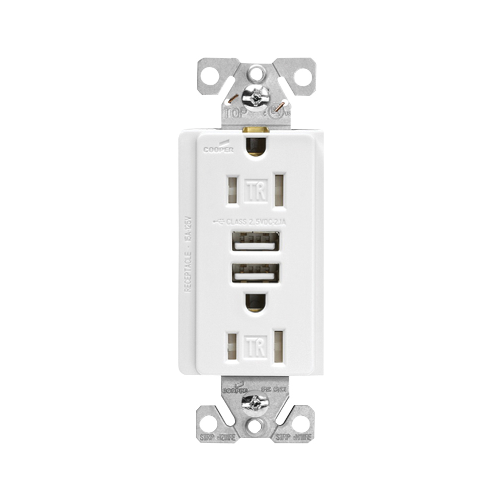 Picture of Arrow Hart TR7755W-K Combination USB Receptacle, 2-Pole, 3.1 A USB, 15 A Receptacle, 125 VAC Receptacle, 5 VDC USB