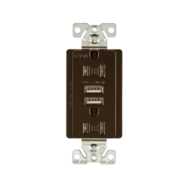 Picture of Arrow Hart TR7755RB-K-L Combination USB Receptacle, 2-Pole, 3.1 A USB, 15 A Receptacle, 2-USB Port