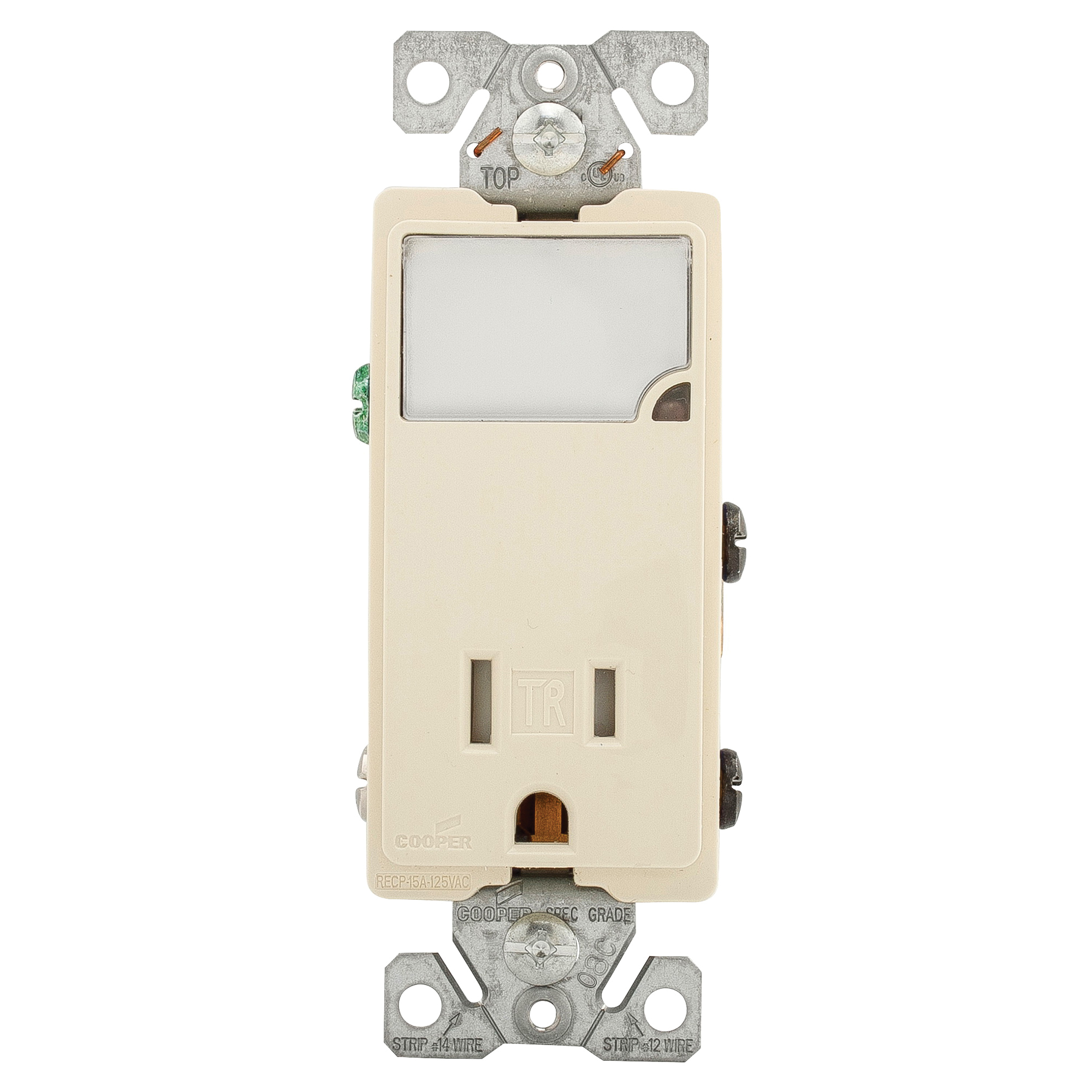 Picture of Eaton Cooper Wiring TR7735LA-BOX LED Wall Box Nightlight Combination, 1-Pole, 15 A, 125 V, Light Almond